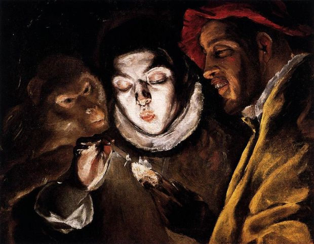 Theotokópoulos,_Doménikos_-_Allegory_with_a_Boy_Lighting_a_Candle_in_the_Company_of_an_Ape_and_a_Fool_(Fábula)_-_c._1600