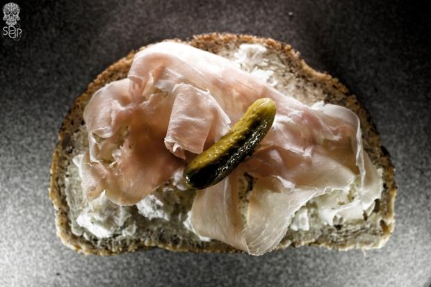 bread slice butter cheese ham pickle