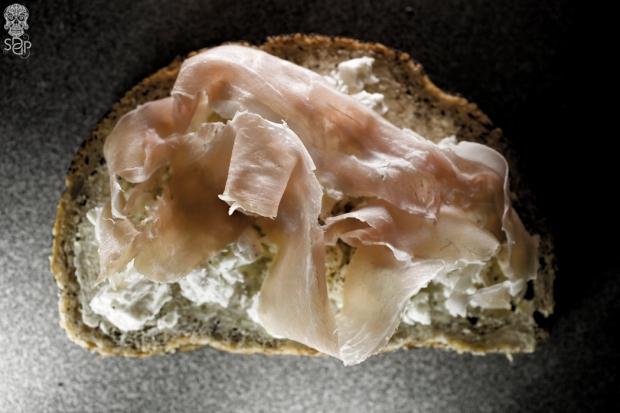 bread slice butter cheese ham